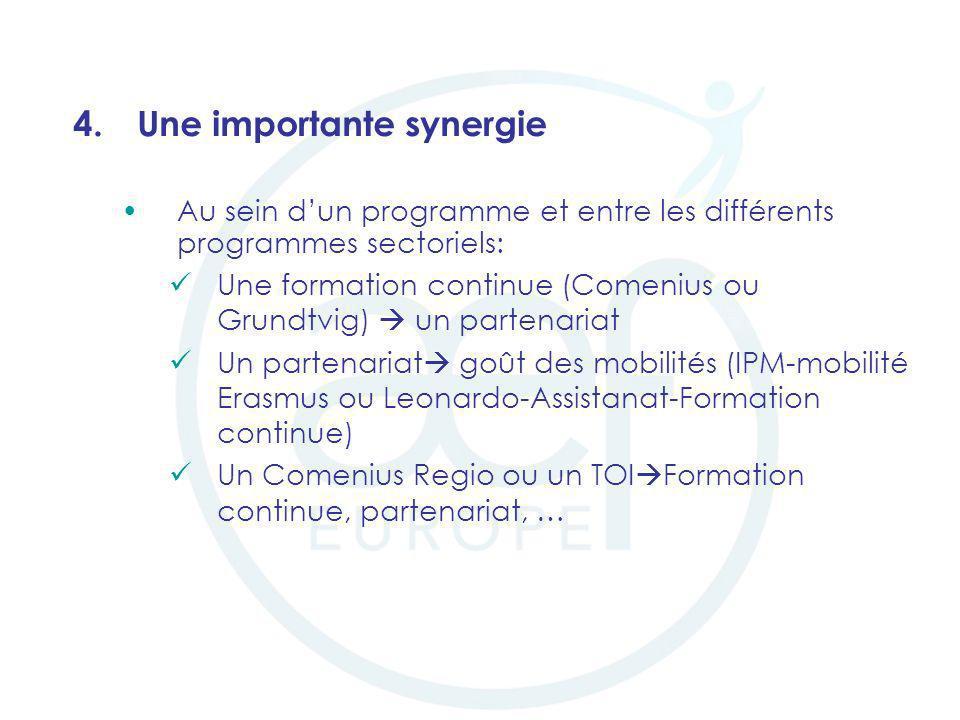 4.Une importante synergie Au sein dun programme et entre les différents programmes sectoriels: Une formation continue (Comenius ou Grundtvig) un parte