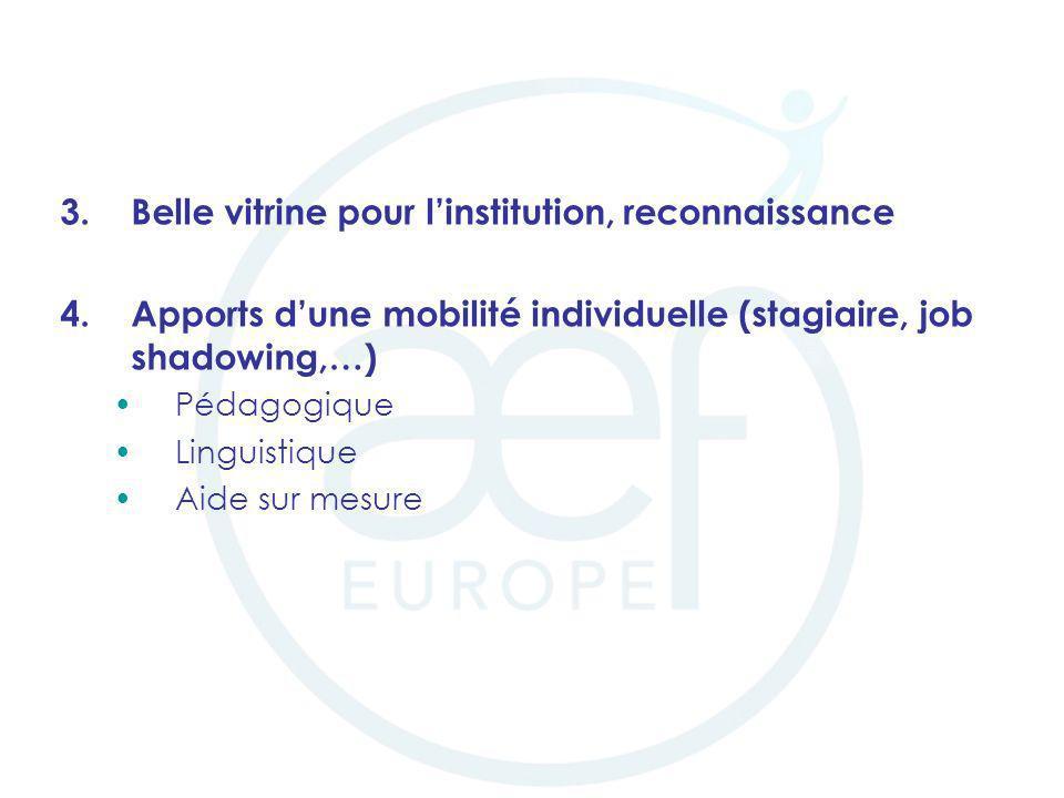 3.Belle vitrine pour linstitution, reconnaissance 4.Apports dune mobilité individuelle (stagiaire, job shadowing,…) Pédagogique Linguistique Aide sur