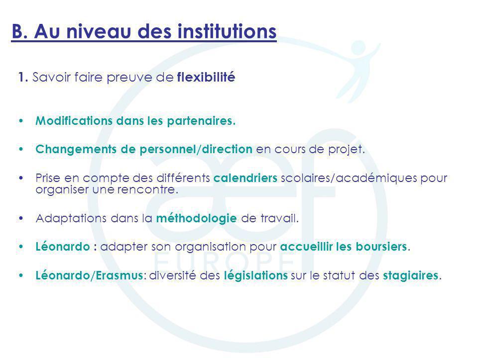 B. Au niveau des institutions 1. Savoir faire preuve de flexibilité Modifications dans les partenaires. Changements de personnel/direction en cours de