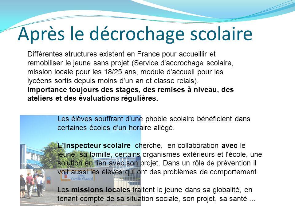 Après le décrochage scolaire Différentes structures existent en France pour accueillir et remobiliser le jeune sans projet (Service daccrochage scolai