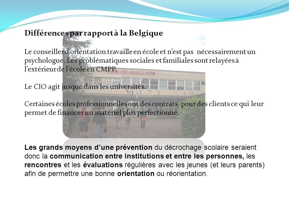 Différences par rapport à la Belgique Le conseiller dorientation travaille en école et nest pas nécessairement un psychologue. Les problématiques soci