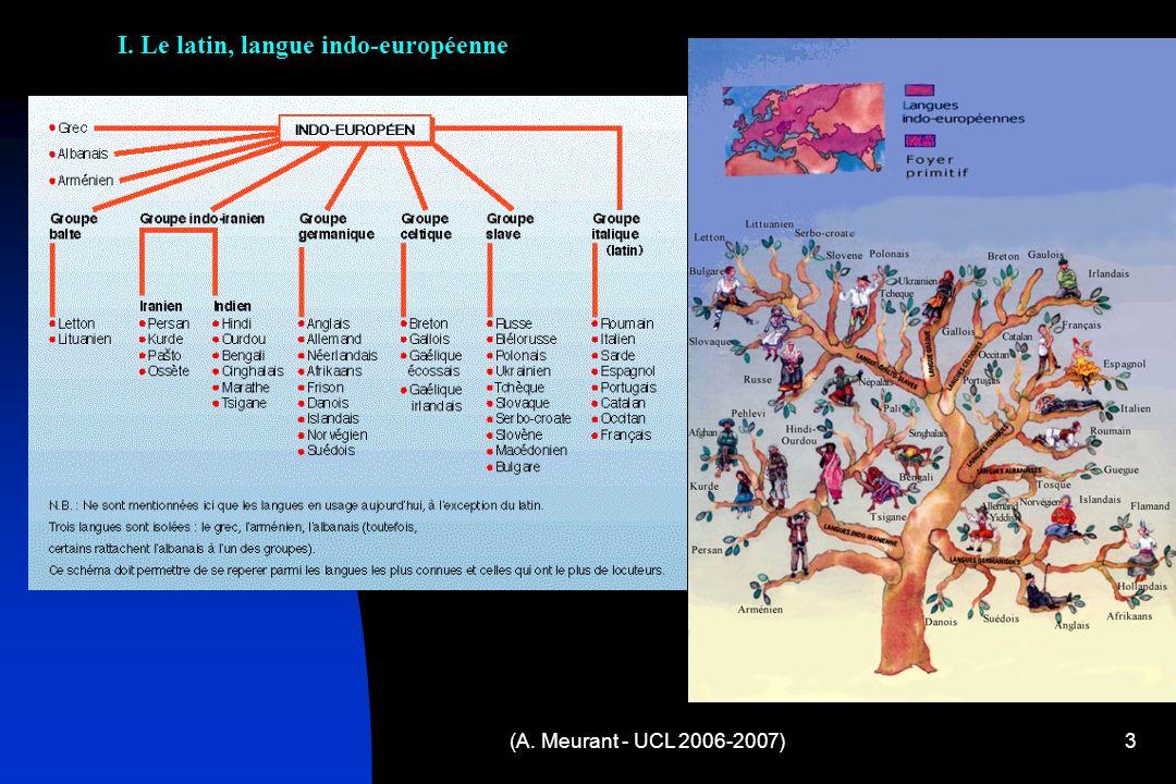 (A. Meurant - UCL 2006-2007)3 I. Le latin, langue indo-européenne