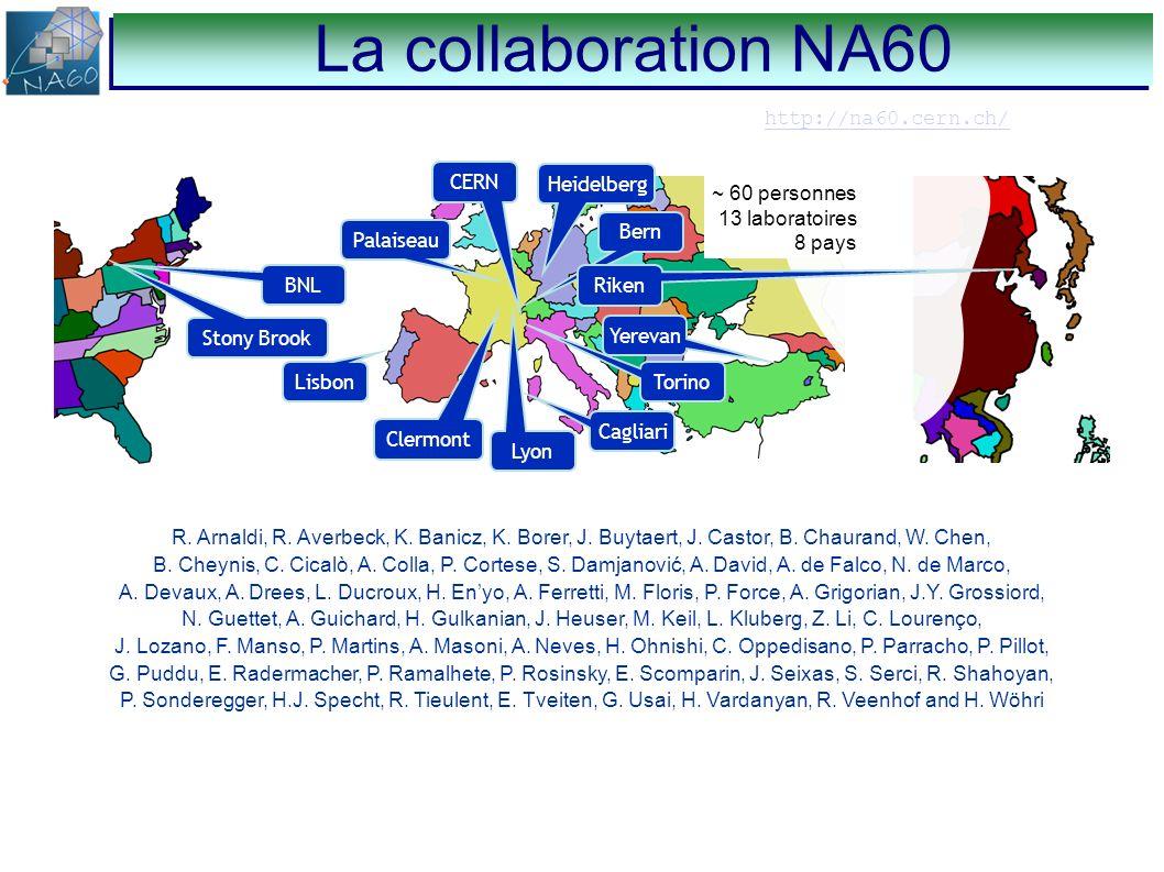 http://na60.cern.ch/ Lisbon CERN Bern Torino Yerevan Cagliari Lyon Clermont Riken Stony Brook Palaiseau Heidelberg BNL ~ 60 personnes 13 laboratoires