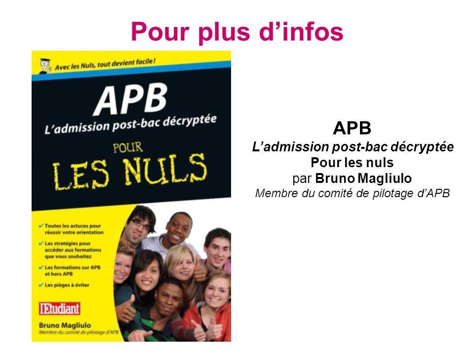 Pour plus dinfos APB Ladmission post-bac décryptée Pour les nuls par Bruno Magliulo Membre du comité de pilotage dAPB