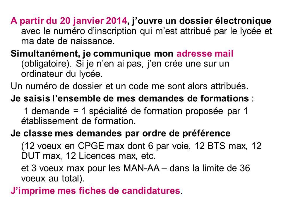 A partir du 20 janvier 2014, jouvre un dossier électronique avec le numéro dinscription qui mest attribué par le lycée et ma date de naissance.