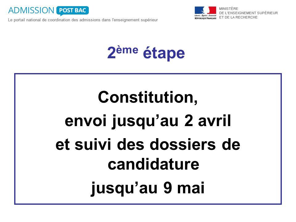 2 ème étape Constitution, envoi jusquau 2 avril et suivi des dossiers de candidature jusquau 9 mai
