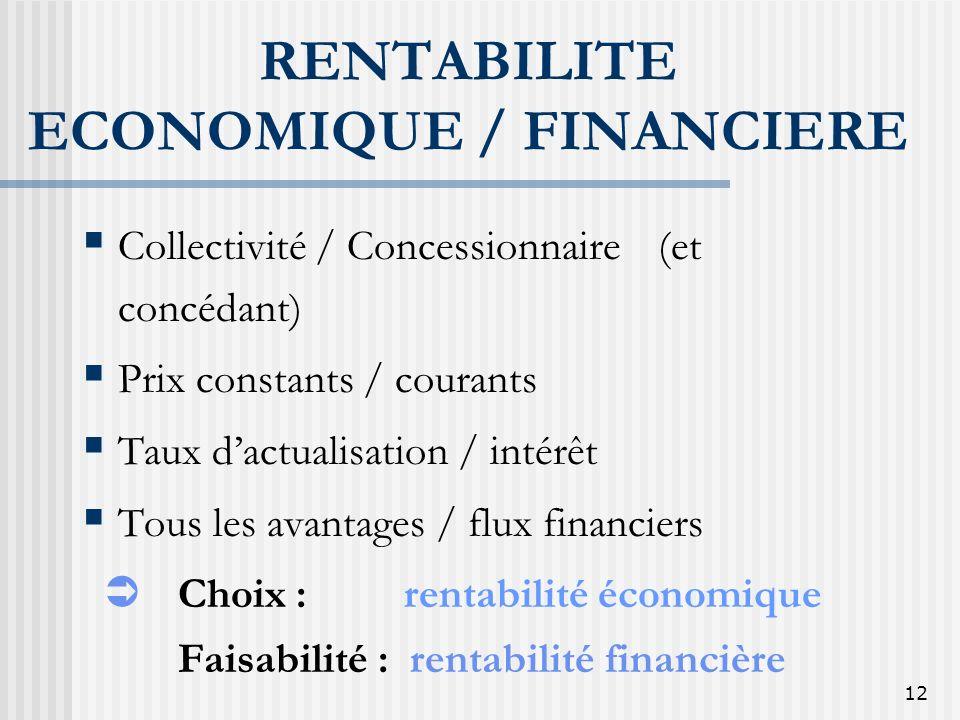 12 RENTABILITE ECONOMIQUE / FINANCIERE Collectivité / Concessionnaire(et concédant) Prix constants / courants Taux dactualisation / intérêt Tous les a