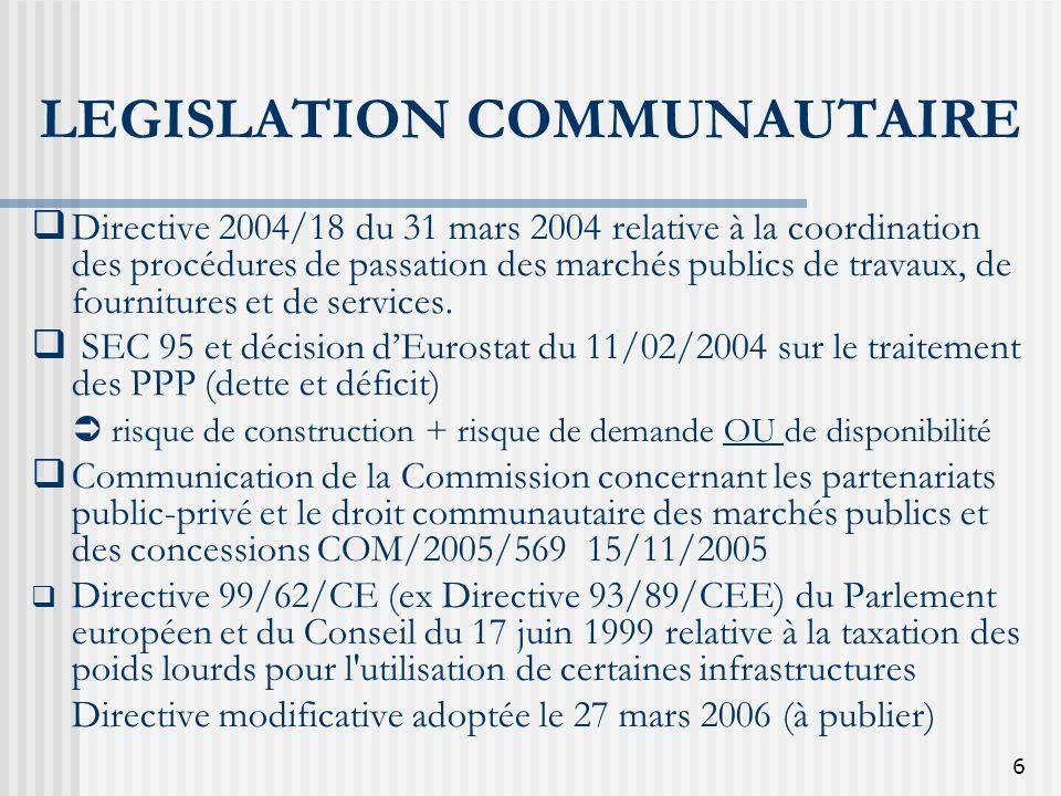 6 LEGISLATION COMMUNAUTAIRE Directive 2004/18 du 31 mars 2004 relative à la coordination des procédures de passation des marchés publics de travaux, d