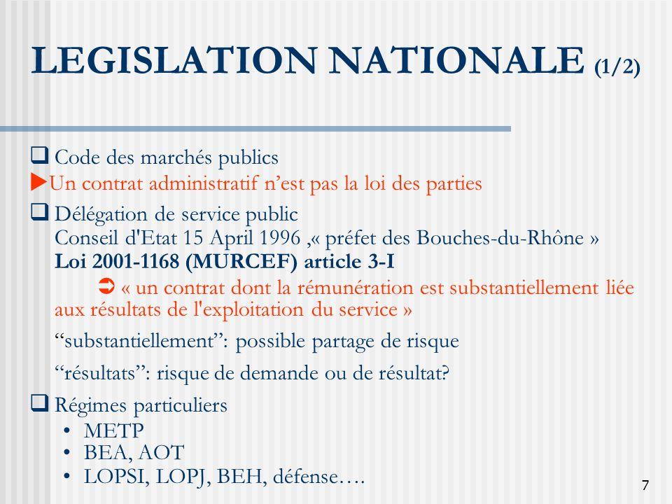 7 LEGISLATION NATIONALE (1/2) Code des marchés publics Un contrat administratif nest pas la loi des parties Délégation de service public Conseil d'Eta