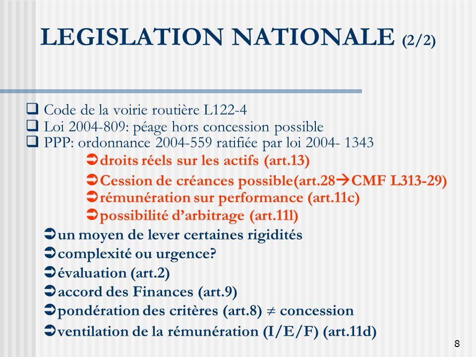 8 LEGISLATION NATIONALE (2/2) Code de la voirie routière L122-4 Loi 2004-809: péage hors concession possible PPP: ordonnance 2004-559 ratifiée par loi