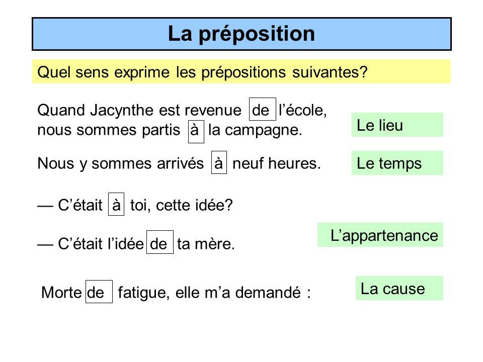 Quel sens exprime les prépositions suivantes.