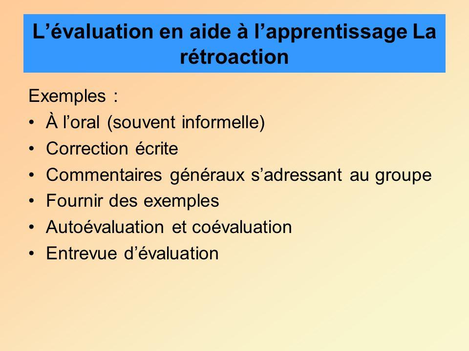 Exemples : À loral (souvent informelle) Correction écrite Commentaires généraux sadressant au groupe Fournir des exemples Autoévaluation et coévaluati