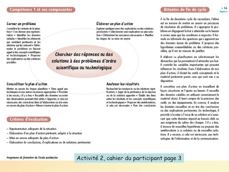 Activité 2, cahier du participant page 3