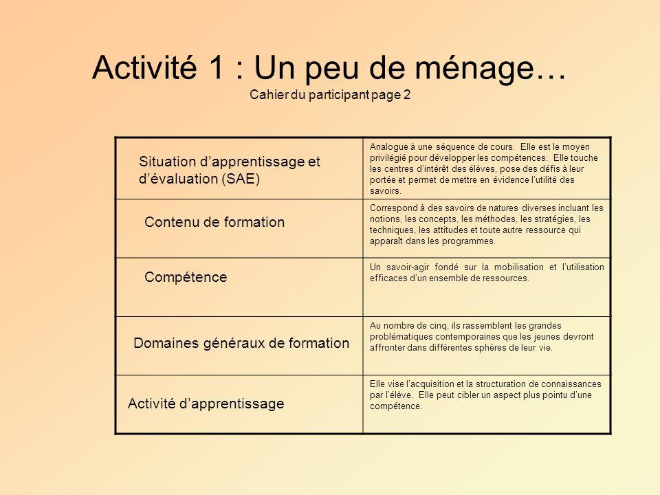 Activité 1 : Un peu de ménage… Cahier du participant page 2 Analogue à une séquence de cours. Elle est le moyen privilégié pour développer les compéte
