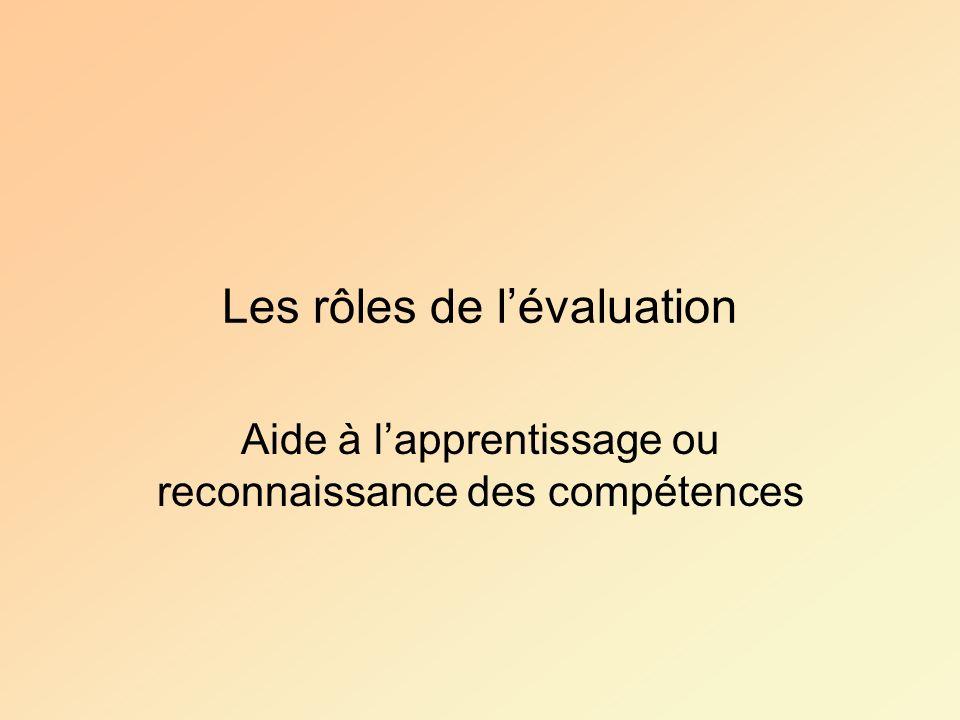 Les rôles de lévaluation Aide à lapprentissage ou reconnaissance des compétences