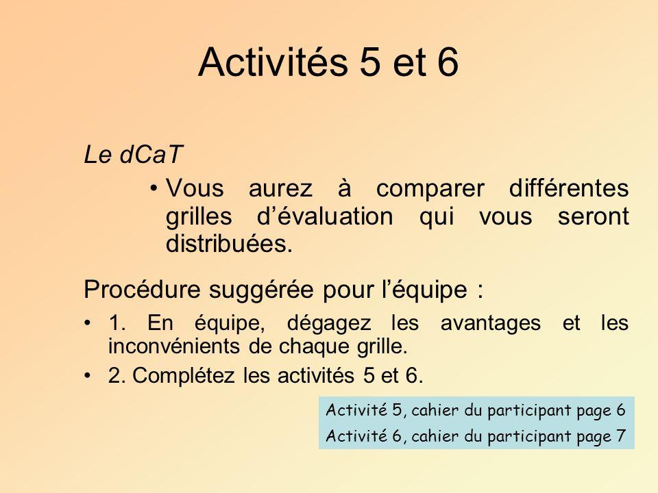 Activités 5 et 6 Le dCaT Vous aurez à comparer différentes grilles dévaluation qui vous seront distribuées. Procédure suggérée pour léquipe : 1. En éq