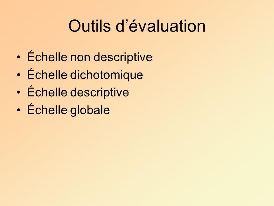 Outils dévaluation Échelle non descriptive Échelle dichotomique Échelle descriptive Échelle globale