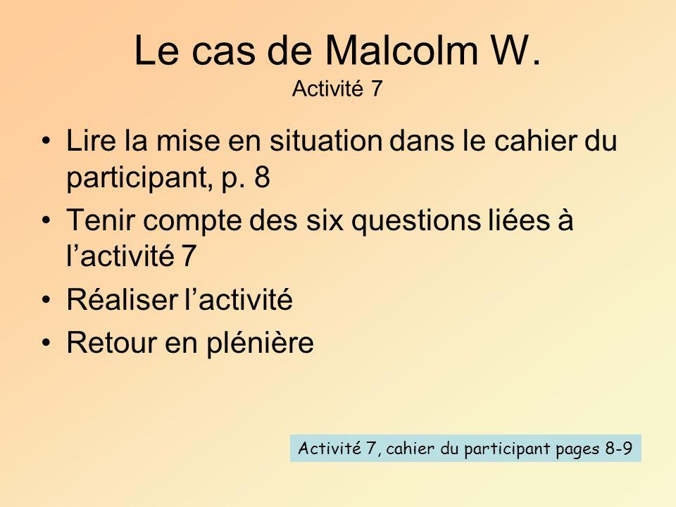 Le cas de Malcolm W. Activité 7 Lire la mise en situation dans le cahier du participant, p. 8 Tenir compte des six questions liées à lactivité 7 Réali