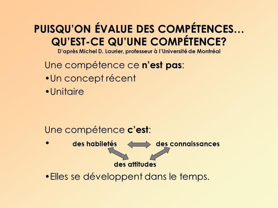 PUISQUON ÉVALUE DES COMPÉTENCES… QUEST-CE QUUNE COMPÉTENCE? Daprès Michel D. Laurier, professeur à lUniversité de Montréal Une compétence ce nest pas