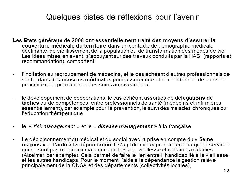 22 Quelques pistes de réflexions pour lavenir Les Etats généraux de 2008 ont essentiellement traité des moyens dassurer la couverture médicale du terr