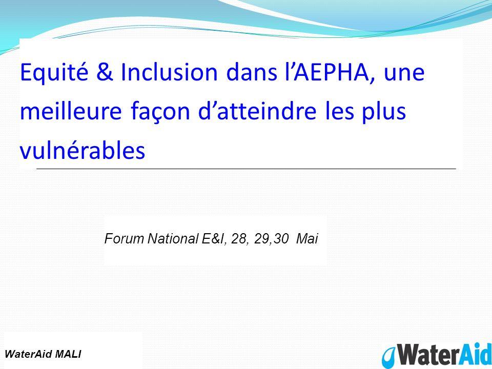 Equité & Inclusion dans lAEPHA, une meilleure façon datteindre les plus vulnérables WaterAid MALI Forum National E&I, 28, 29,30 Mai