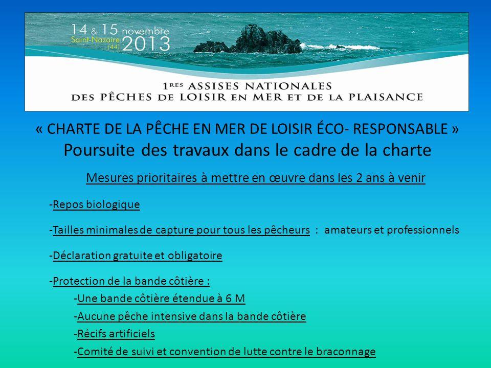 « CHARTE DE LA PÊCHE EN MER DE LOISIR ÉCO- RESPONSABLE » Poursuite des travaux dans le cadre de la charte Mesures prioritaires à mettre en œuvre dans les 2 ans à venir -Repos biologique -Tailles minimales de capture pour tous les pêcheurs : amateurs et professionnels -Déclaration gratuite et obligatoire -Protection de la bande côtière : -Une bande côtière étendue à 6 M -Aucune pêche intensive dans la bande côtière -Récifs artificiels -Comité de suivi et convention de lutte contre le braconnage