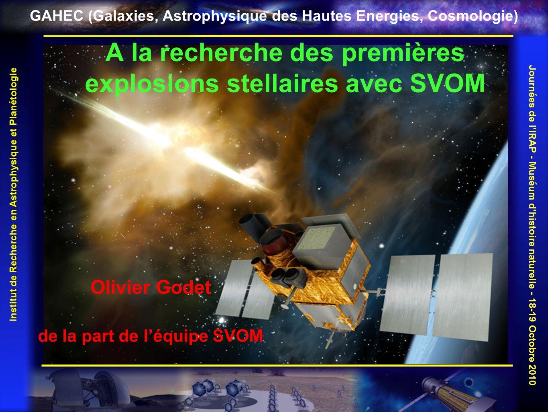 GAHEC (Galaxies, Astrophysique des Hautes Energies, Cosmologie) Les sursauts gamma De brèves et intenses bouffées de photons gamma Association avec la mort de certaines étoiles massives Association avec la coalescence dobjets compacts