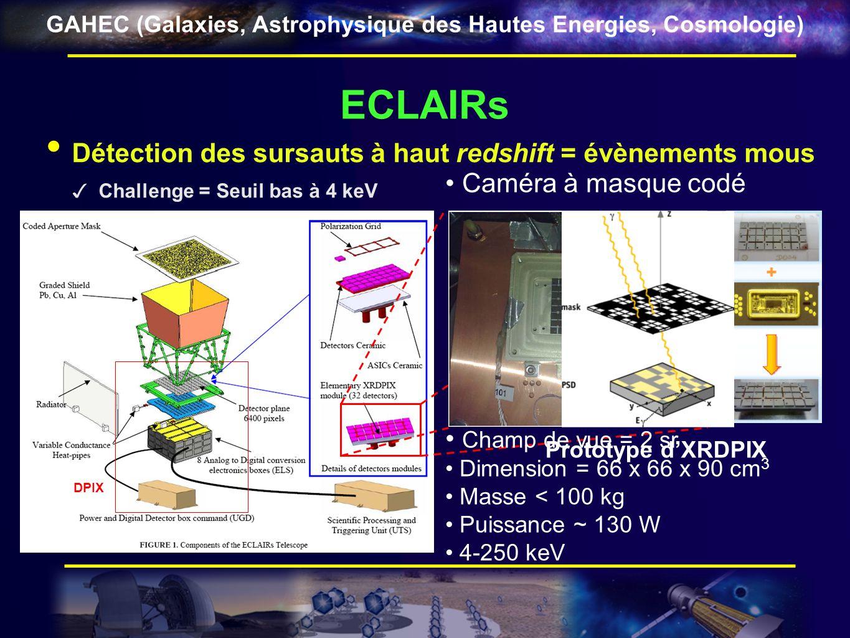 GAHEC (Galaxies, Astrophysique des Hautes Energies, Cosmologie) ECLAIRs DPIX Détection des sursauts à haut redshift = évènements mous Challenge = Seui