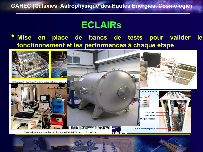 GAHEC (Galaxies, Astrophysique des Hautes Energies, Cosmologie) ECLAIRs Mise en place de bancs de tests pour valider le fonctionnement et les performa