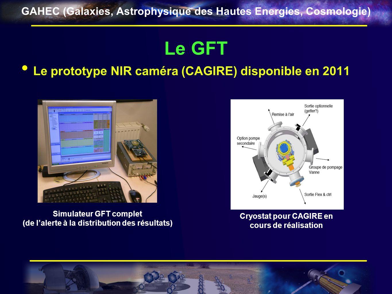 GAHEC (Galaxies, Astrophysique des Hautes Energies, Cosmologie) Le GFT Le prototype NIR caméra (CAGIRE) disponible en 2011 Simulateur GFT complet (de