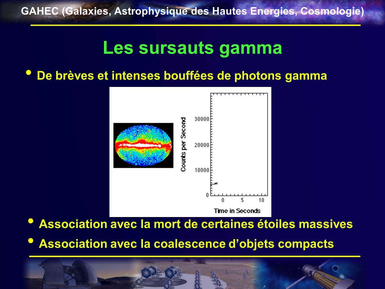 GAHEC (Galaxies, Astrophysique des Hautes Energies, Cosmologie) Les sursauts gamma De brèves et intenses bouffées de photons gamma Association avec la