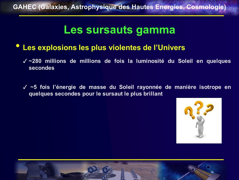 GAHEC (Galaxies, Astrophysique des Hautes Energies, Cosmologie) Les sursauts gamma De vrais phares éclairant lUnivers GRB 080319B : un sursaut visible à loeil nu z = 0,973 i.e.