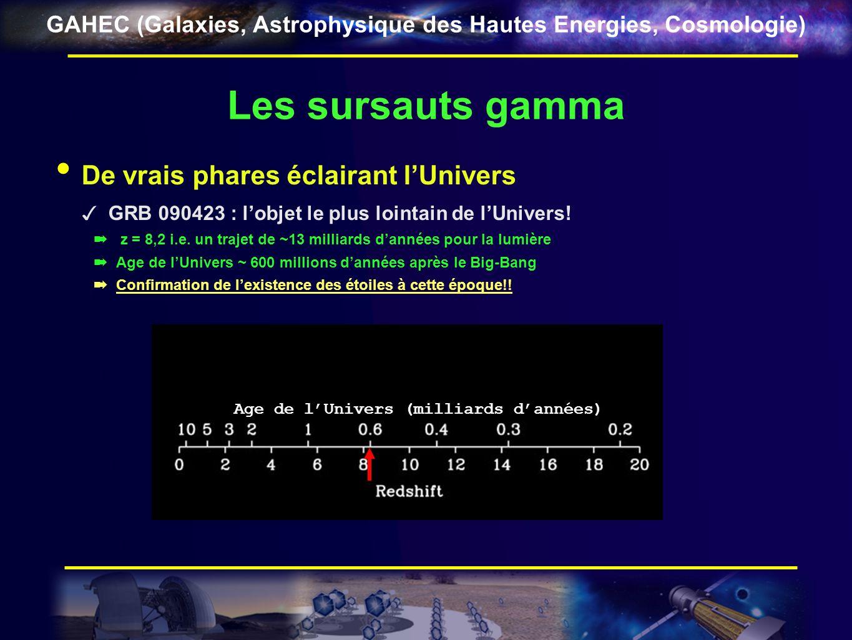 GAHEC (Galaxies, Astrophysique des Hautes Energies, Cosmologie) Les sursauts gamma De vrais phares éclairant lUnivers GRB 090423 : lobjet le plus loin