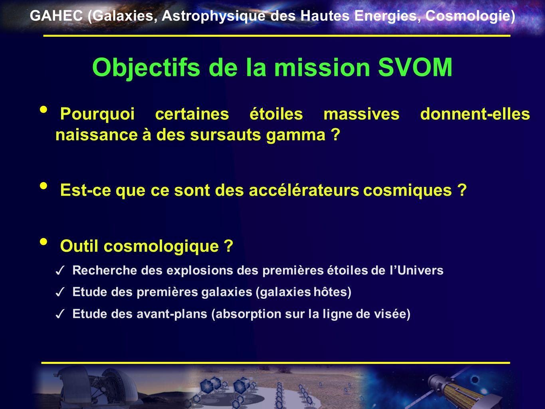 GAHEC (Galaxies, Astrophysique des Hautes Energies, Cosmologie) La mission SVOM Née du concept de μ-mission ECLAIRs (Jean-Luc Attéia) Une collaboration entre la France et la Chine (MoU) Projet décidé au CNES Lancement prévu en 2015 – Mission de 3 ans (+2 ans) Phase A terminée – début de phase B en 2011