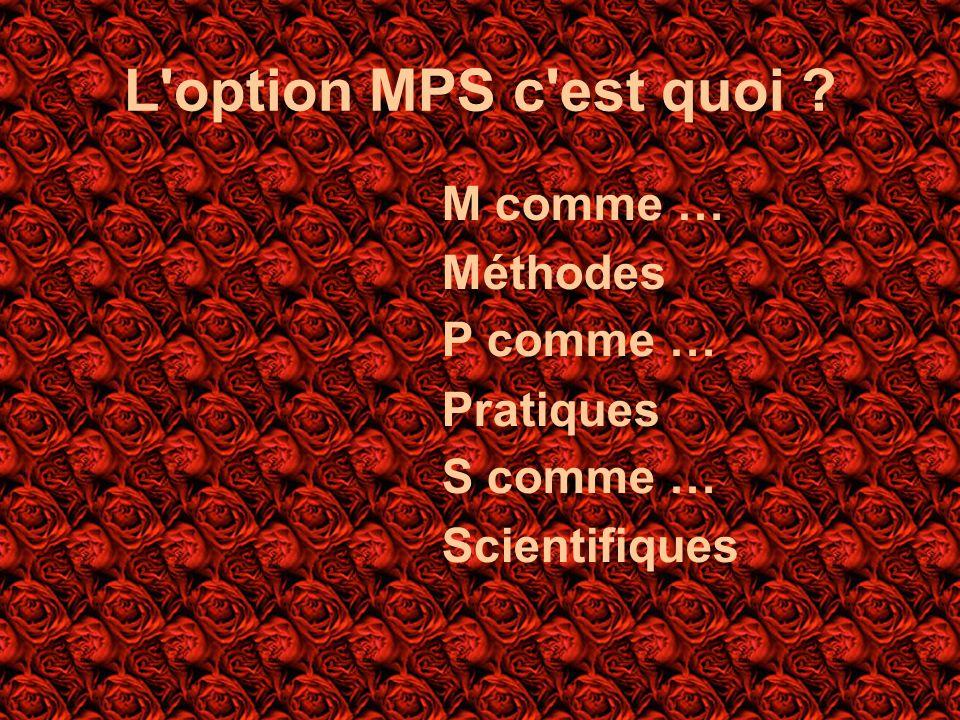L'option MPS c'est quoi ? M comme … Méthodes P comme … Pratiques S comme … Scientifiques