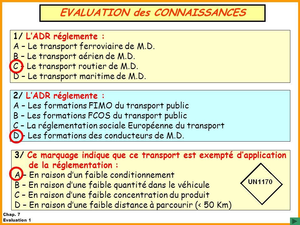 1/ LADR réglemente : A – Le transport ferroviaire de M.D. B – Le transport aérien de M.D. C – Le transport routier de M.D. D – Le transport maritime d
