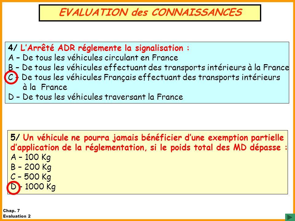 5/ Un véhicule ne pourra jamais bénéficier dune exemption partielle dapplication de la réglementation, si le poids total des MD dépasse : A – 100 Kg B