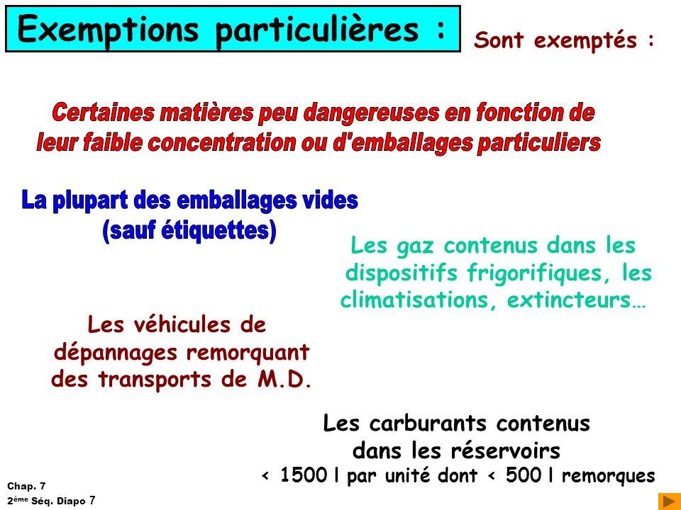 Exemptions particulières : Sont exemptés : Les véhicules de dépannages remorquant des transports de M.D. Les carburants contenus dans les réservoirs <