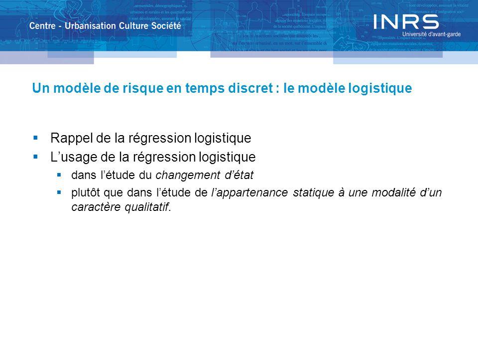 Un modèle de risque en temps discret : le modèle logistique Rappel de la régression logistique Lusage de la régression logistique dans létude du changement détat plutôt que dans létude de lappartenance statique à une modalité dun caractère qualitatif.