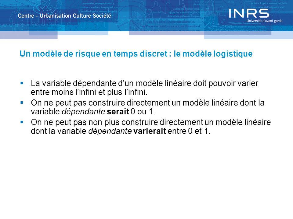 Un modèle de risque en temps discret : le modèle logistique La variable dépendante dun modèle linéaire doit pouvoir varier entre moins linfini et plus linfini.