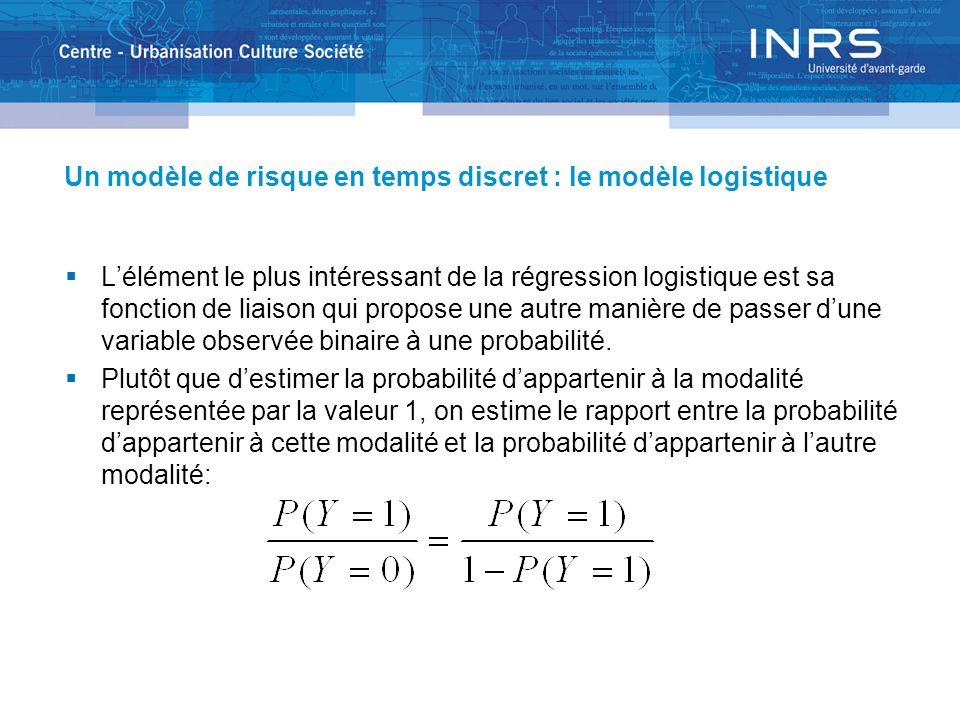Un modèle de risque en temps discret : le modèle logistique Lélément le plus intéressant de la régression logistique est sa fonction de liaison qui propose une autre manière de passer dune variable observée binaire à une probabilité.