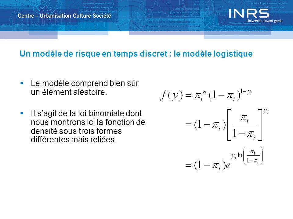 Un modèle de risque en temps discret : le modèle logistique Le modèle comprend bien sûr un élément aléatoire. Il sagit de la loi binomiale dont nous m