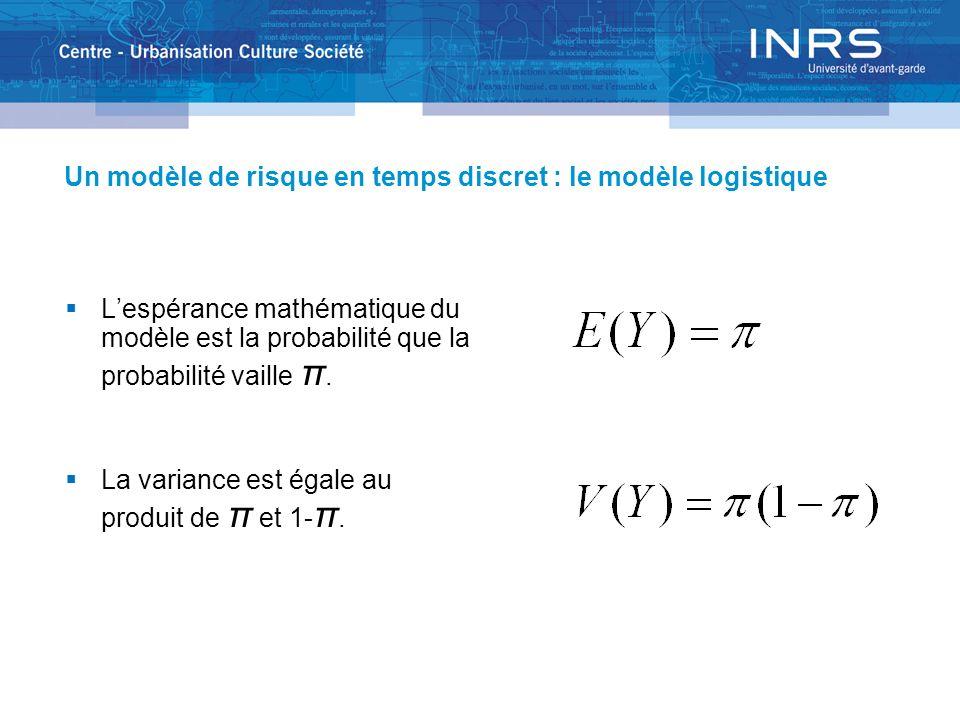 Un modèle de risque en temps discret : le modèle logistique Lespérance mathématique du modèle est la probabilité que la probabilité vaille π. La varia