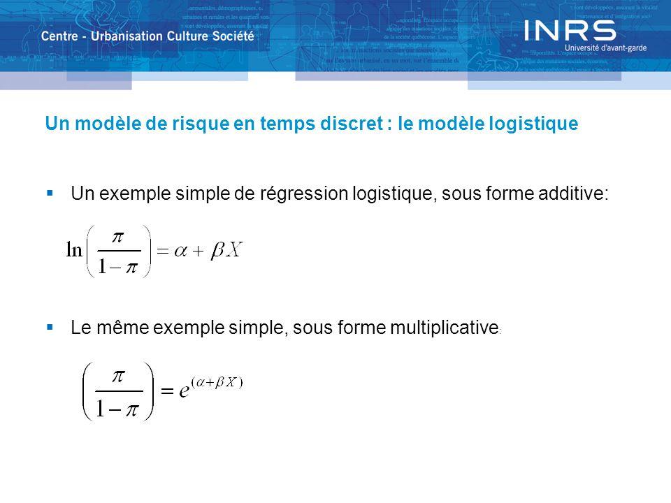 Un modèle de risque en temps discret : le modèle logistique Un exemple simple de régression logistique, sous forme additive: Le même exemple simple, sous forme multiplicative :