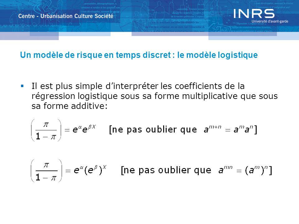 Un modèle de risque en temps discret : le modèle logistique Il est plus simple dinterpréter les coefficients de la régression logistique sous sa forme multiplicative que sous sa forme additive:
