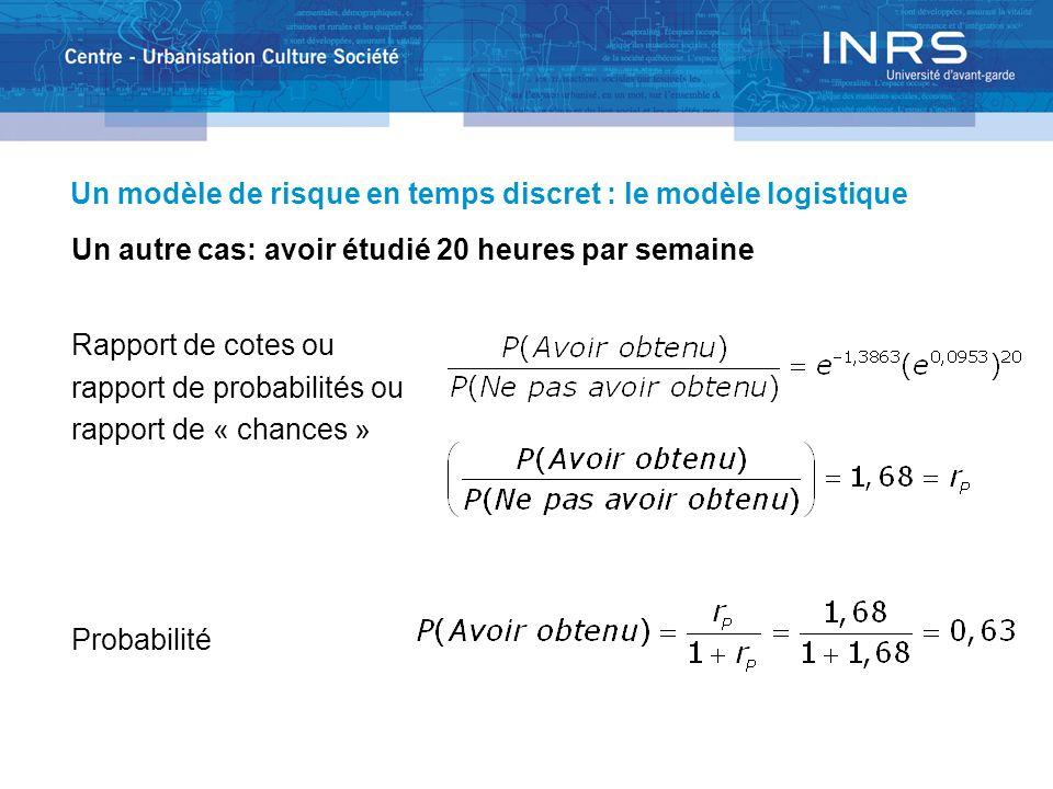 Un modèle de risque en temps discret : le modèle logistique Un autre cas: avoir étudié 20 heures par semaine Rapport de cotes ou rapport de probabilités ou rapport de « chances » Probabilité