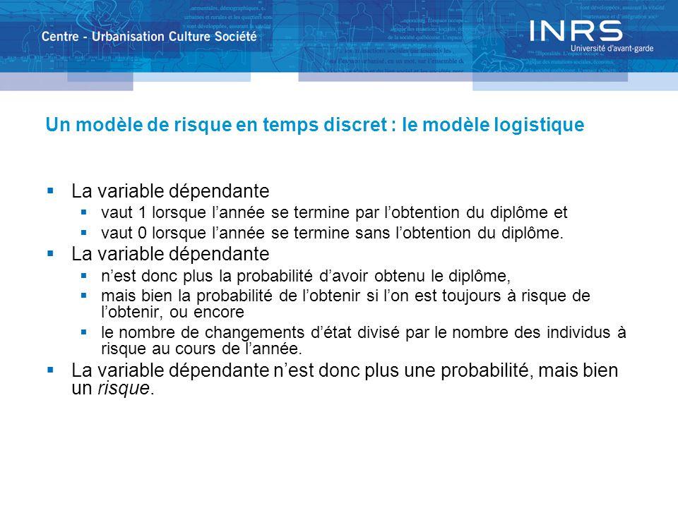 Un modèle de risque en temps discret : le modèle logistique La variable dépendante vaut 1 lorsque lannée se termine par lobtention du diplôme et vaut 0 lorsque lannée se termine sans lobtention du diplôme.