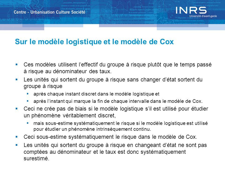 Sur le modèle logistique et le modèle de Cox Ces modèles utilisent leffectif du groupe à risque plutôt que le temps passé à risque au dénominateur des taux.