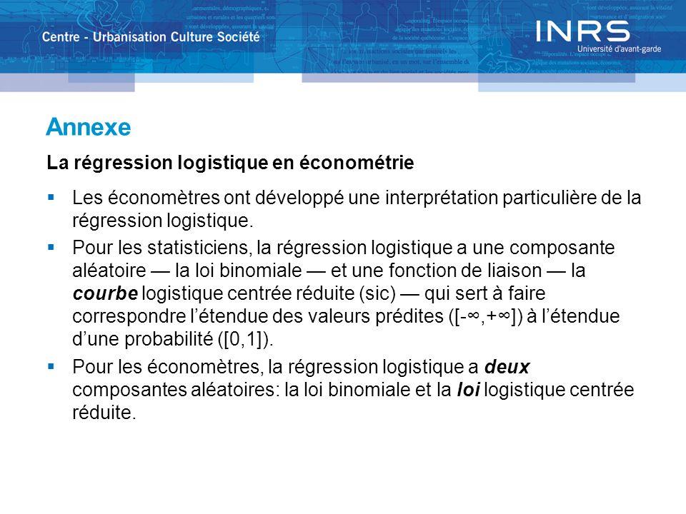 Annexe La régression logistique en économétrie Les économètres ont développé une interprétation particulière de la régression logistique. Pour les sta