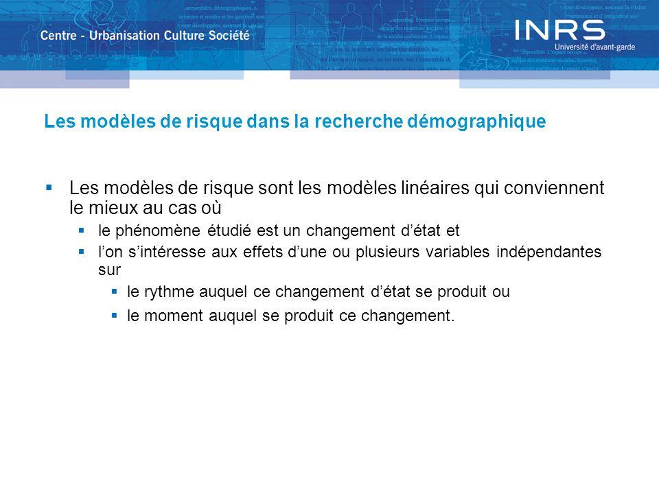 Les modèles de risque dans la recherche démographique Les modèles de risque sont les modèles linéaires qui conviennent le mieux au cas où le phénomène étudié est un changement détat et lon sintéresse aux effets dune ou plusieurs variables indépendantes sur le rythme auquel ce changement détat se produit ou le moment auquel se produit ce changement.